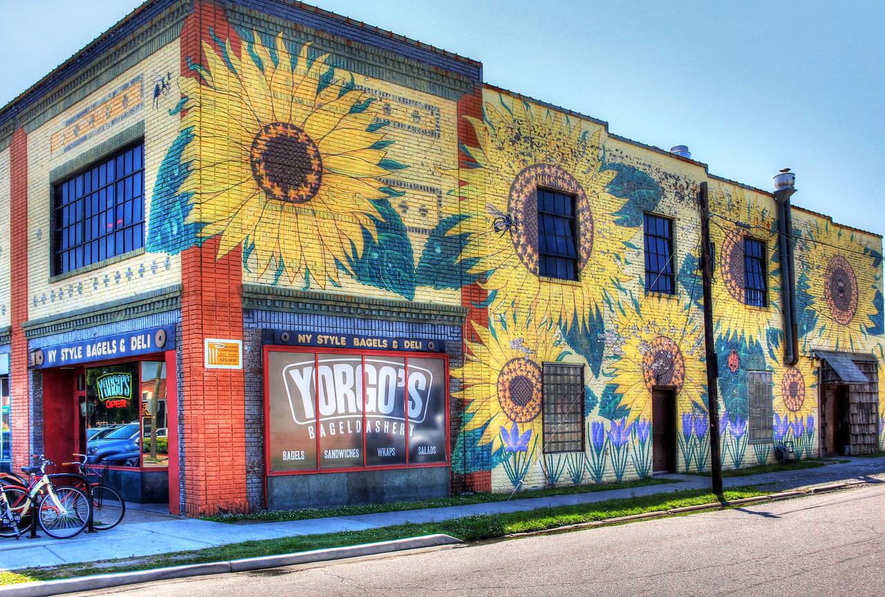 Yorgo's Bageldashery Sunflower Mural