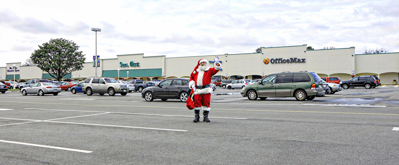 Santa Wandering at Hilltop Parking Lot
