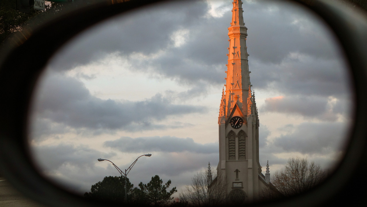 Side Mirror View of The Basilica of St. Mary of the Immaculate Conception