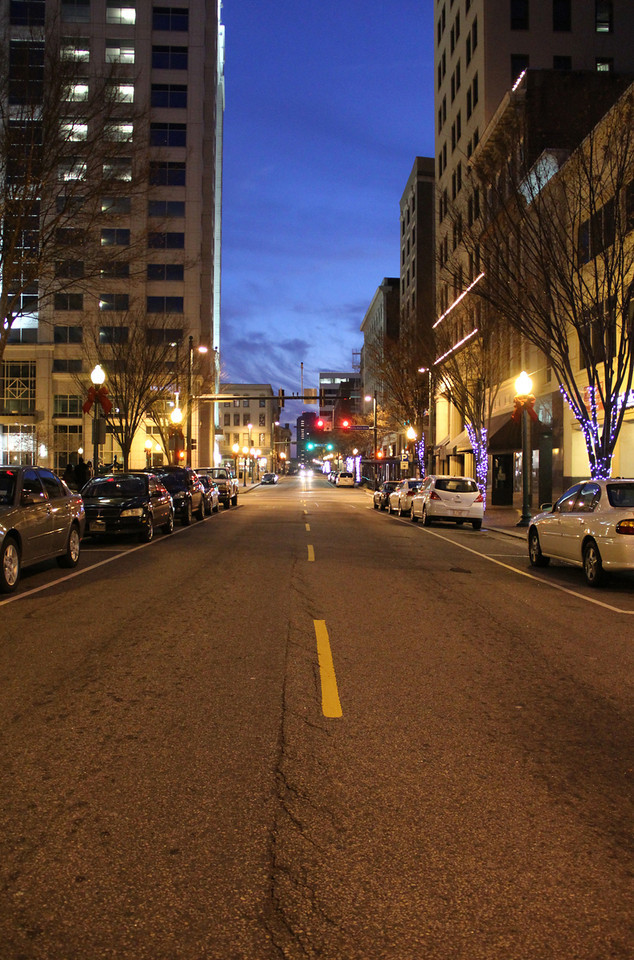 Looking up Granby to Main Street